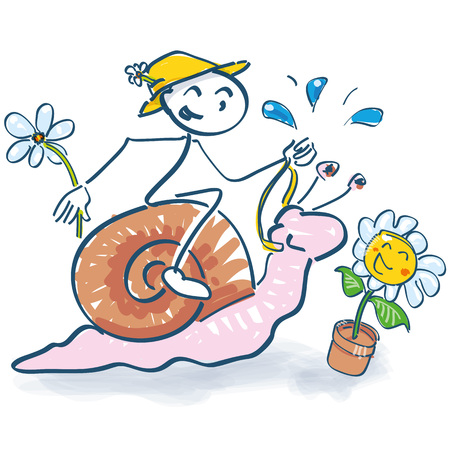 Stick figure rides on a snail into the spring