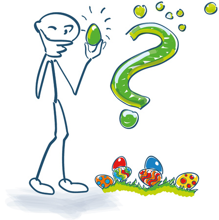 Stick figure examines Easter eggs with a thick question mark
