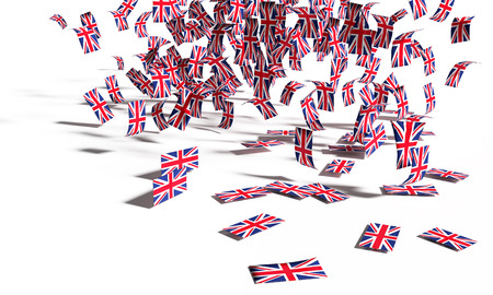 Many notes and flags from Great Britain falling down to the ground