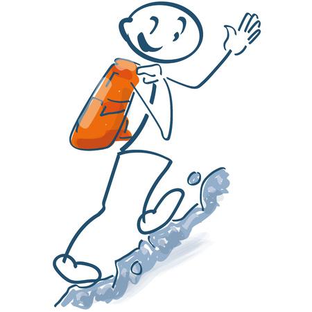 Stick figure climbs up a mountain