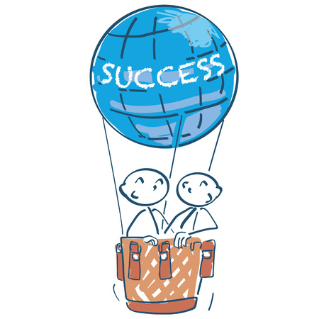Stick figure in a hot air balloon with the lettering and success