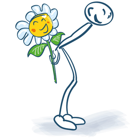 Stick figure with a flower behind his back and congratulations to the touch Иллюстрация
