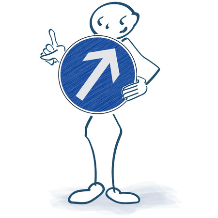 Stick figure with a sign with an arrow pointing upwards