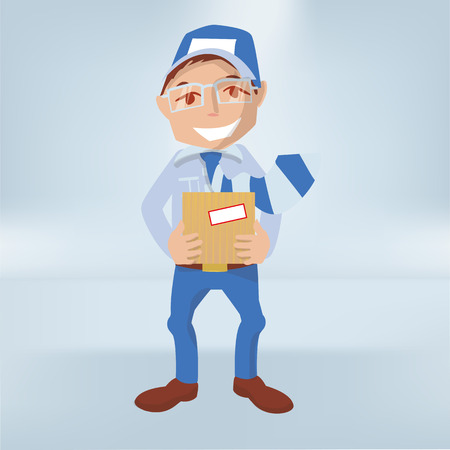 Male with a package in his hands as a courier