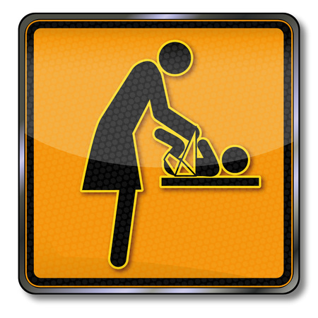 Sign with mother and child on changing table Vectores
