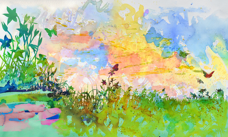 Watercolor with a few flowers on the meadow in the garden