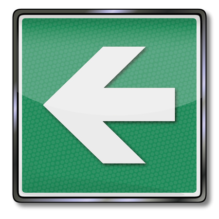 Green fire safety sign with an arrow to the left