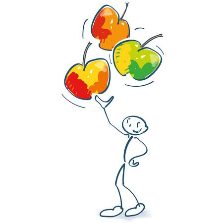 Stokfiguur met drie appels in de lucht Vector Illustratie