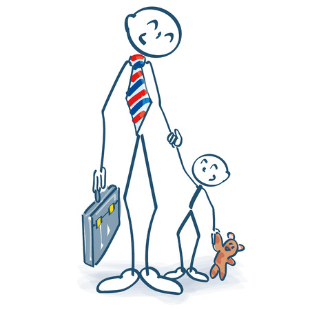Stick figure as a single parent manager with child