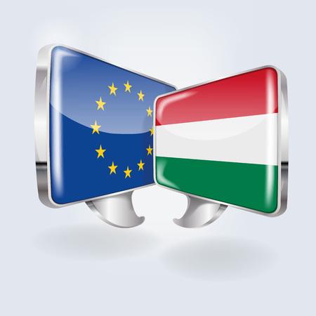 Speech bubbles with Europe and Hungary Ilustração
