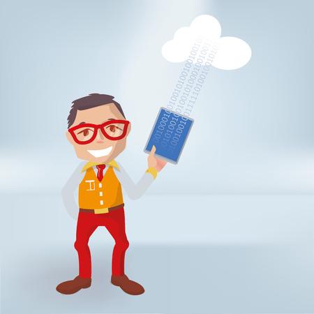 Homme avec tablette, cloud et téléchargement