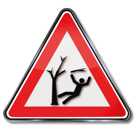 Attention storm damage in the forest and injury from falling branches Illustration