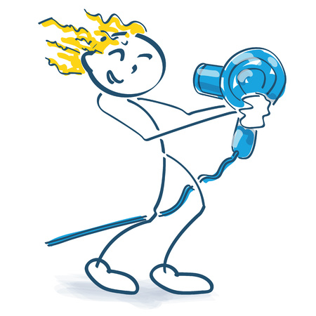 Stick figure is having a hair dryer in his hand Ilustração