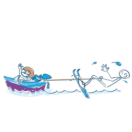 Stick figures riding water skiing Illustration