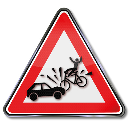 Warning sign with respect for biker and car crash