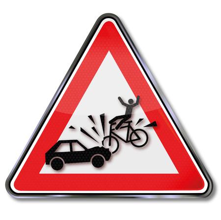 Warnschild mit Respekt vor Biker- und Autounfall Vektorgrafik