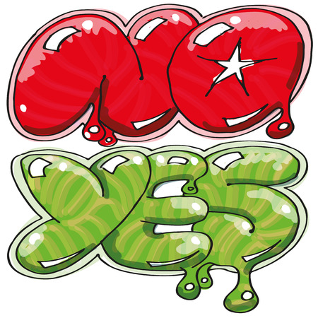 Inflated letters with yes and no Ilustração