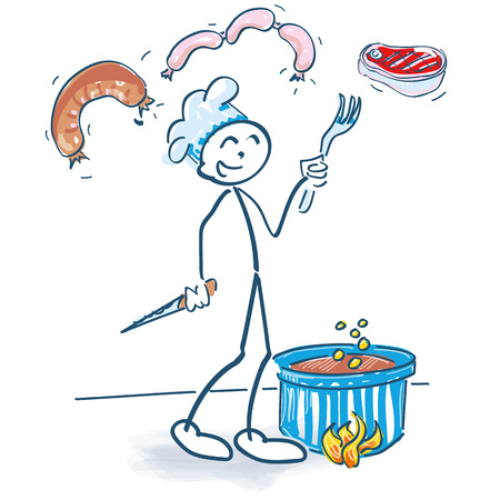 Stick figure with saucepan and meaty food Ilustração