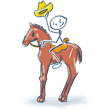 Stick figure sits on the horse as a cowboy