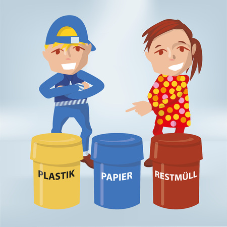 Pupils at school and waste separation