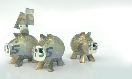 Three little piggy banks with five euros Imagens