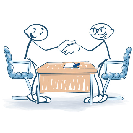 Stick figures with contract and shaking hands