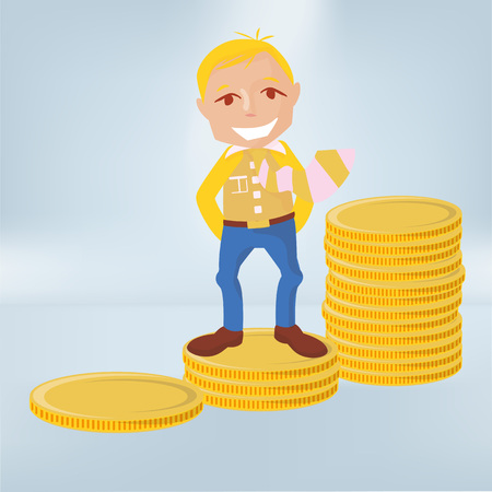 Male stands on coins and makes profits