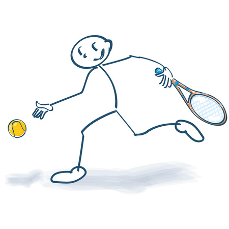 Stick figure with tennis ball and tennis racket  イラスト・ベクター素材