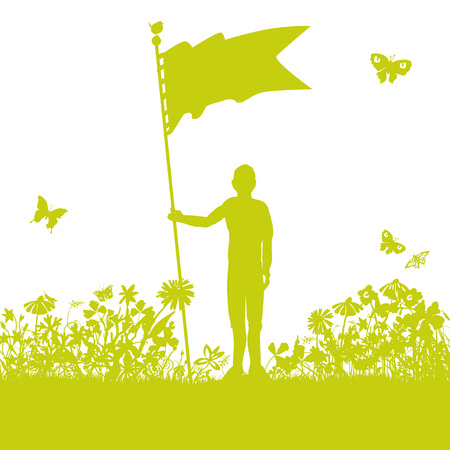 Man with a flag or banner in the garden Ilustração