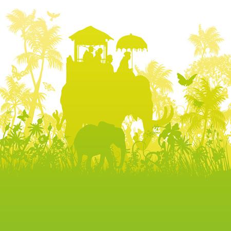녹색 정글의 코끼리