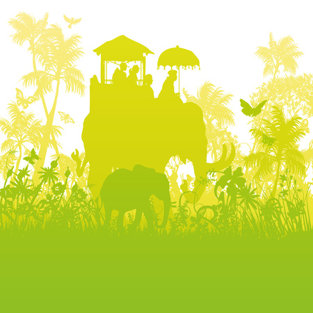 Elephants in the green jungle