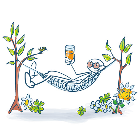 Stick figure lies with a drink in the hammock and is relaxing
