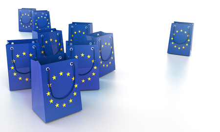 Blue shopping bags in Europe with stars
