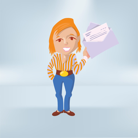 Woman shows a letter in an envelope Çizim
