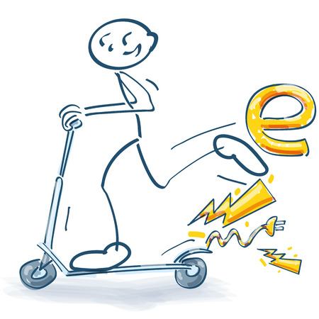 Stick figure with an electric scooter Illustration