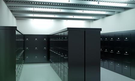 Room full of filing cabinets Imagens