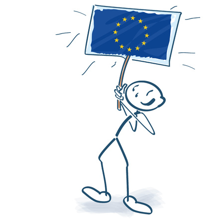Stick figure marches proudly with a European symbol in the air