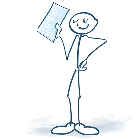 Stick figure proudly displays a letter of completion
