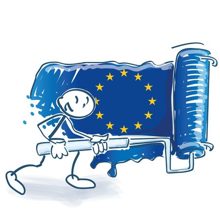 Stick figure with a big paint roller paints the European flag