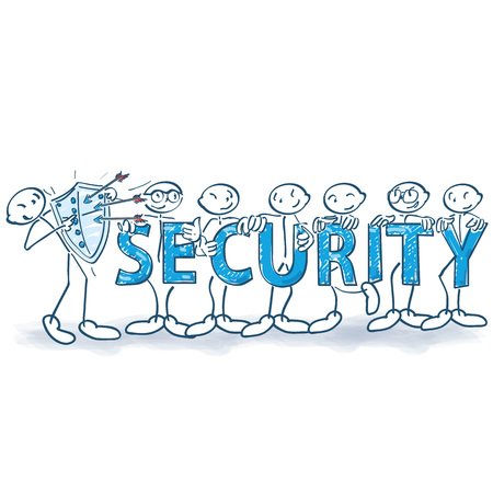 Stick figure with shield, arrows and security