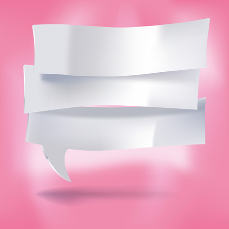 Three notes as speech bubbles on a pink background Illustration