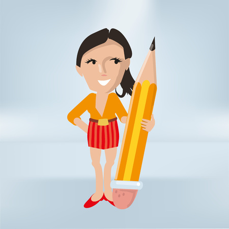Woman in the office with a big yellow pencil Ilustração