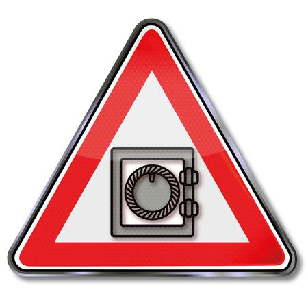 Shield with a closed safe for money Ilustração