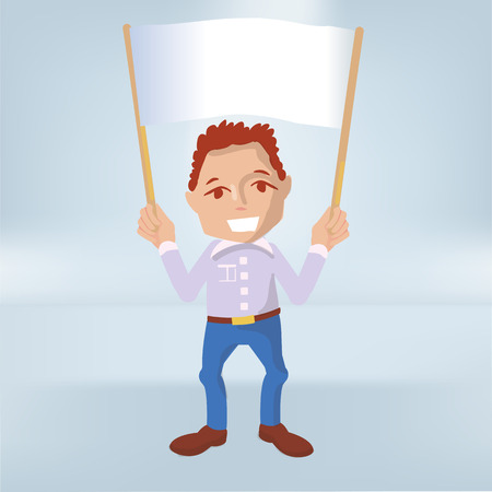Male holds a white banner in the air  イラスト・ベクター素材