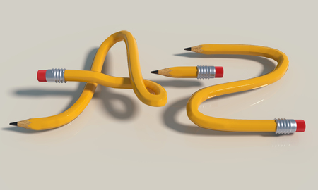 Pencil knot from A to Z three yellow pencils