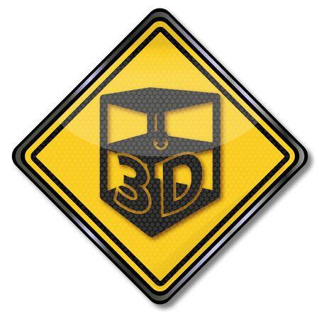 Shield with a 3D printer and third dimension Ilustração