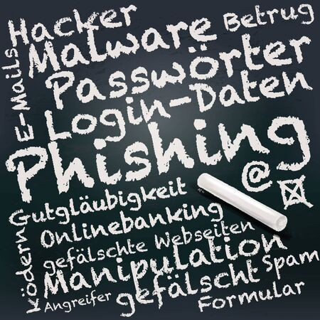 Blackboard and chalk with phishing in a mail Çizim