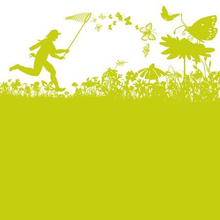 Schmetterlinge fangen in der Natur und Frühlingsgefühle Vektorgrafik