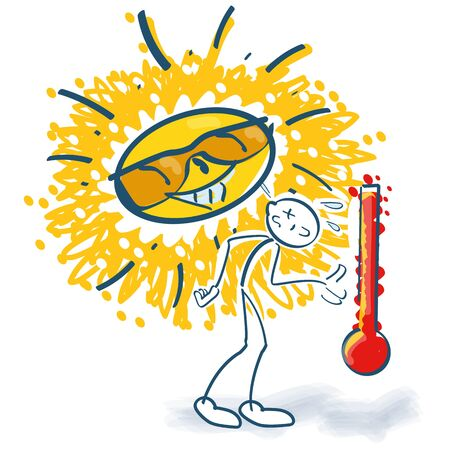 Stick figure groans under the heat and heat record of the sun