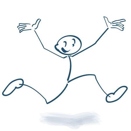 Stick figure makes a high air jump 向量圖像
